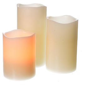 LED candles in real wax, battery powered, 3 pieces s1