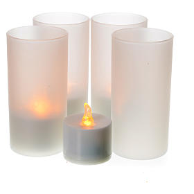 Velas Votivas: Velas tealight led recarregáveis 4 unidades
