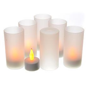 Votive candles: Tea light votive candles, rechargeable LED light, 6 pcs