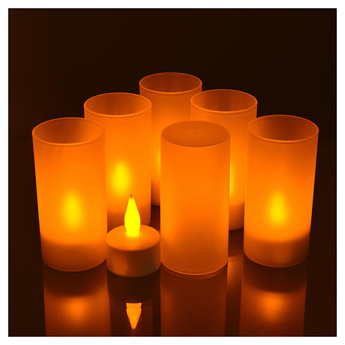 Tea light votive candles, rechargeable LED light, 6 pcs 2