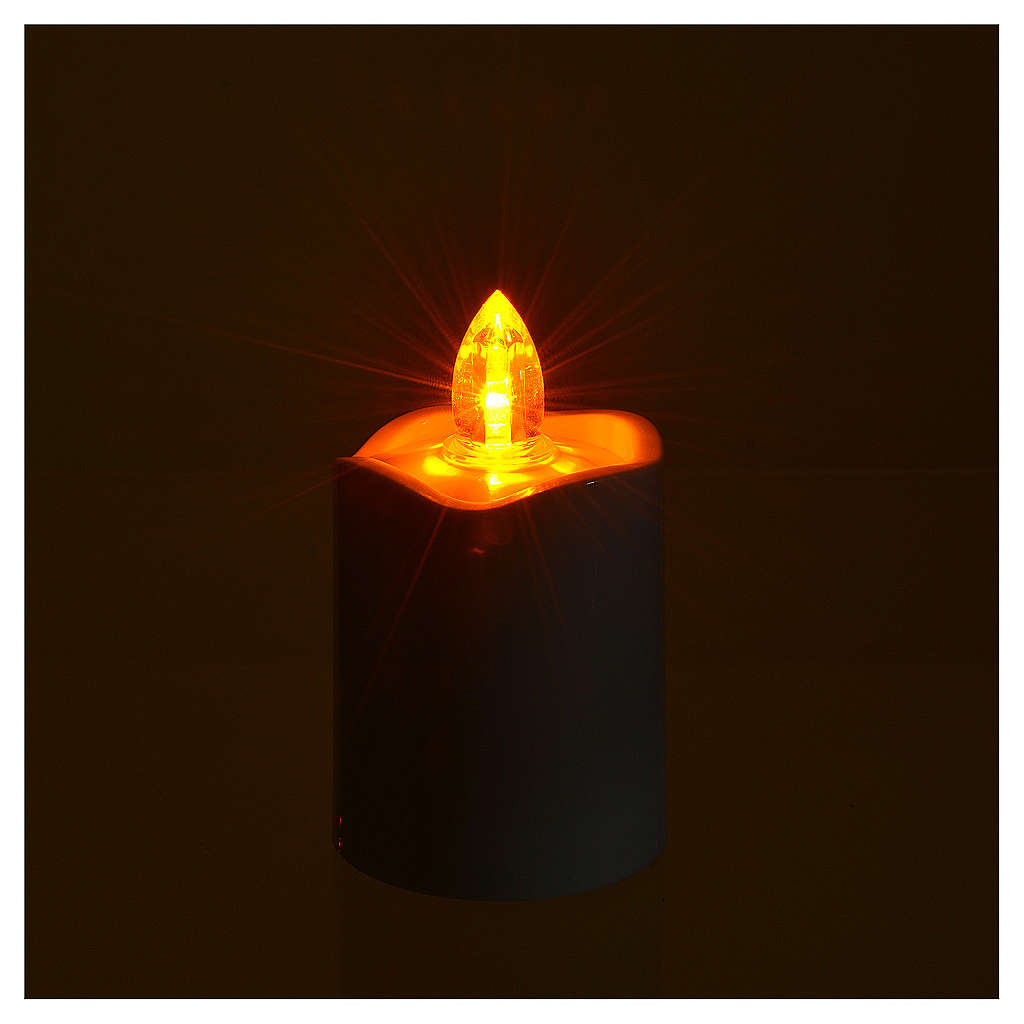 Votive candle, white with yellow LED light 3
