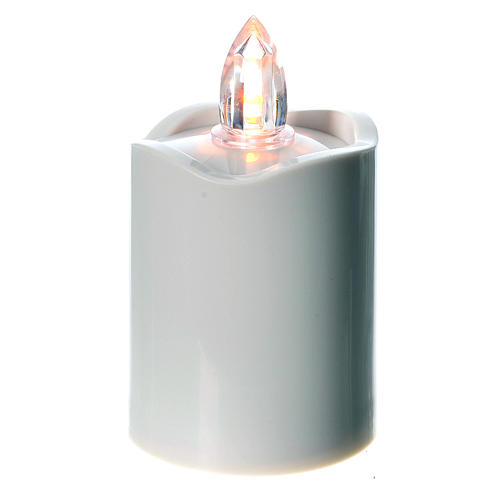 Votive candle, white with yellow LED light 1