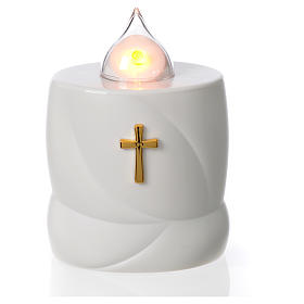 Lumada electric candle, white with cross and yellow flame s1