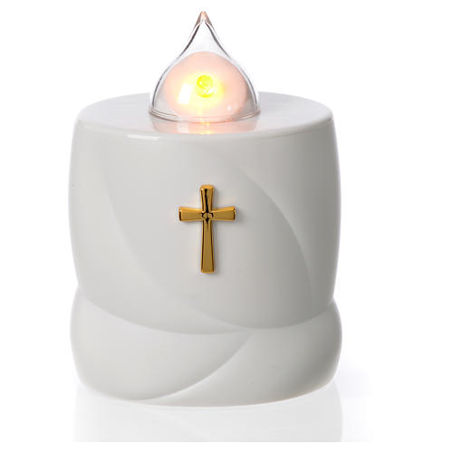 Lumada electric candle, white with cross and yellow flame 1