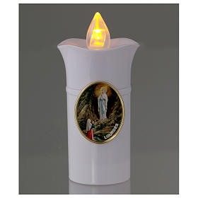 Lumada electric candle, white, image of Lourdes with flickering s2