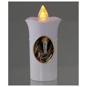 Vela Lumada imagen Virgen de Lourdes blanco llama amarilla parpadeante s2