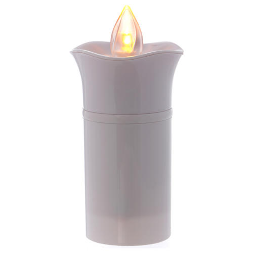 Lumada electric candle, white, image of Lourdes with flickering 3