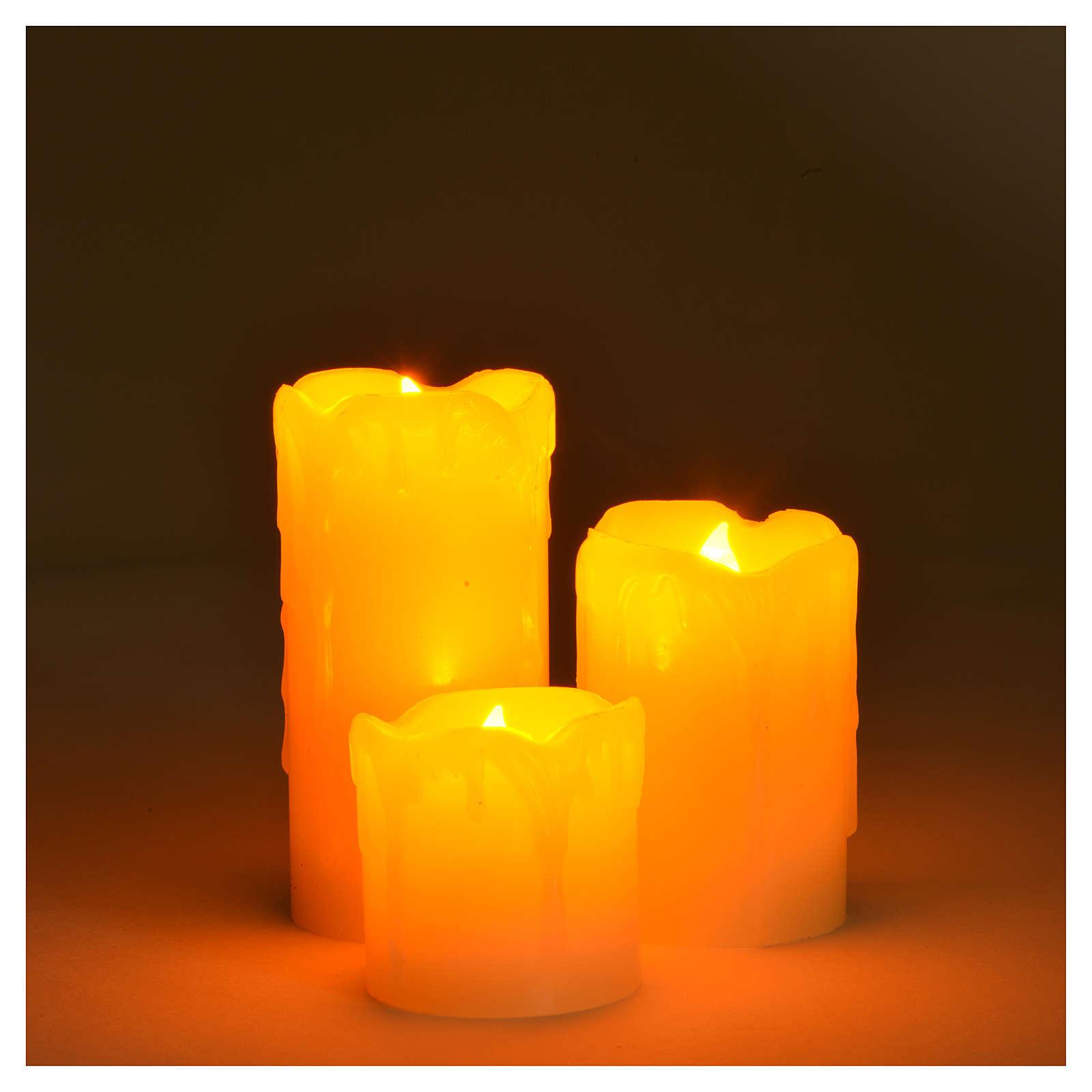 Set 3 bougies à piles flamme vive 3