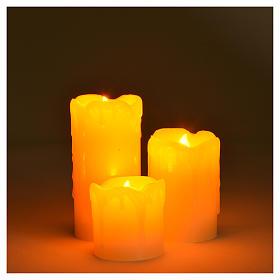 Set 3 bougies à piles flamme vive s3