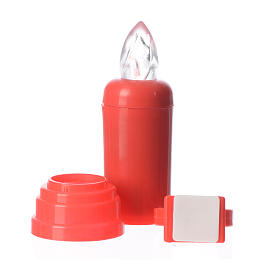 Electric candle red with trembling flame and adhesive s3