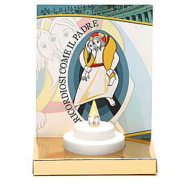 Świece wotywne: Ołtarzyk ze świeczką elektryczną podstawa złoty karton Jubileusz