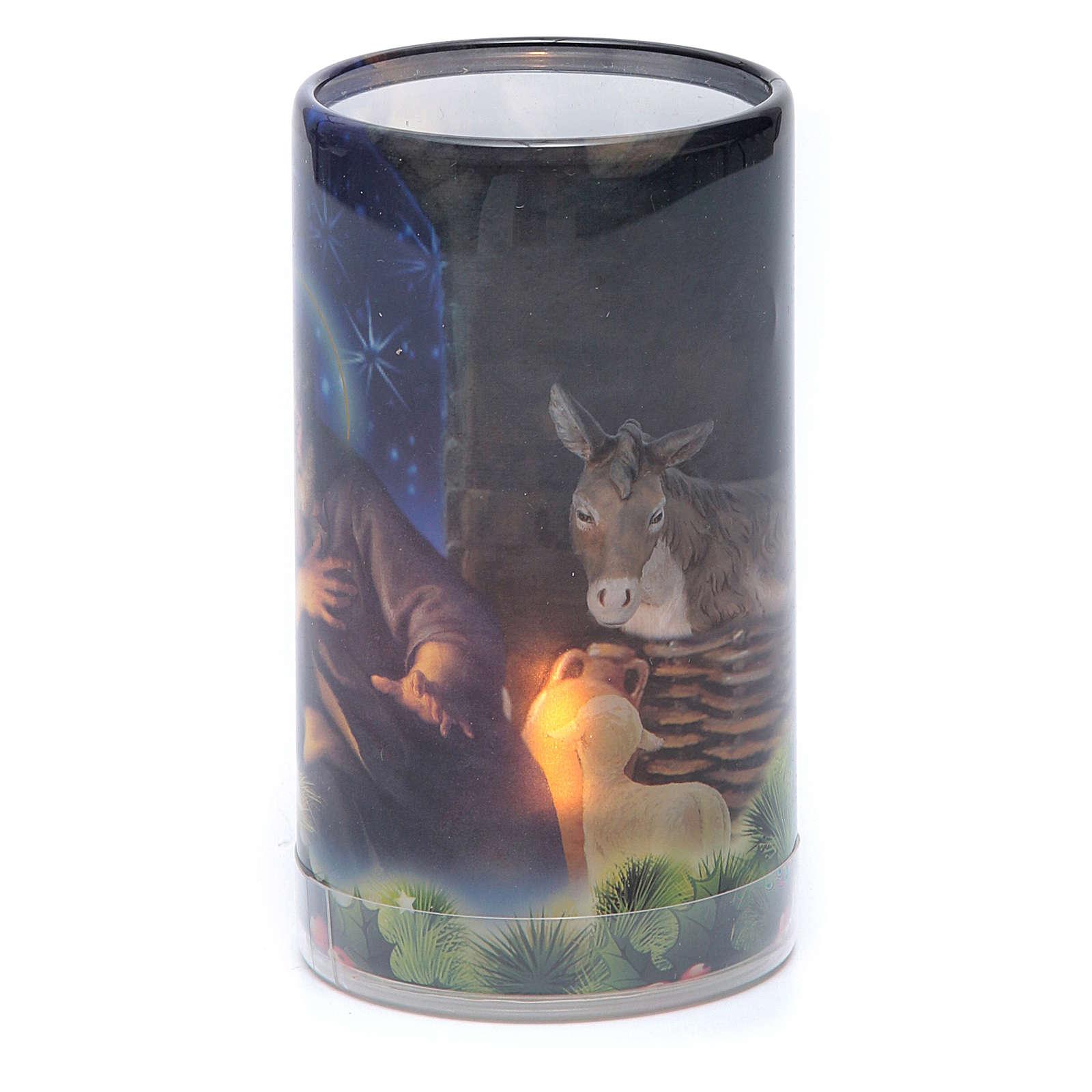 Vela con pilas con imagen de Navidad con vela falsa interior 3