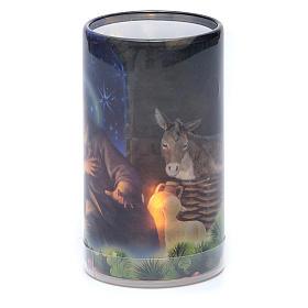 Vela con pilas con imagen de Navidad con vela falsa interior s2