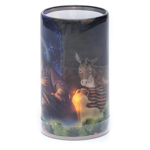 Vela con pilas con imagen de Navidad con vela falsa interior 2