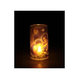 Candela a batteria con immagine di natale con finta candela interna s3