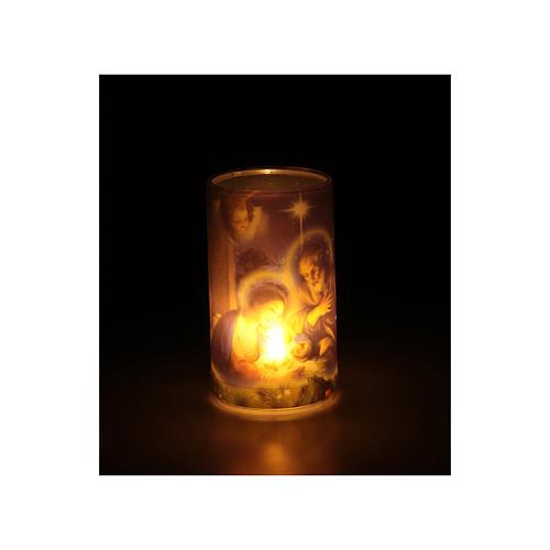 Candela a batteria con immagine di natale con finta candela interna 3