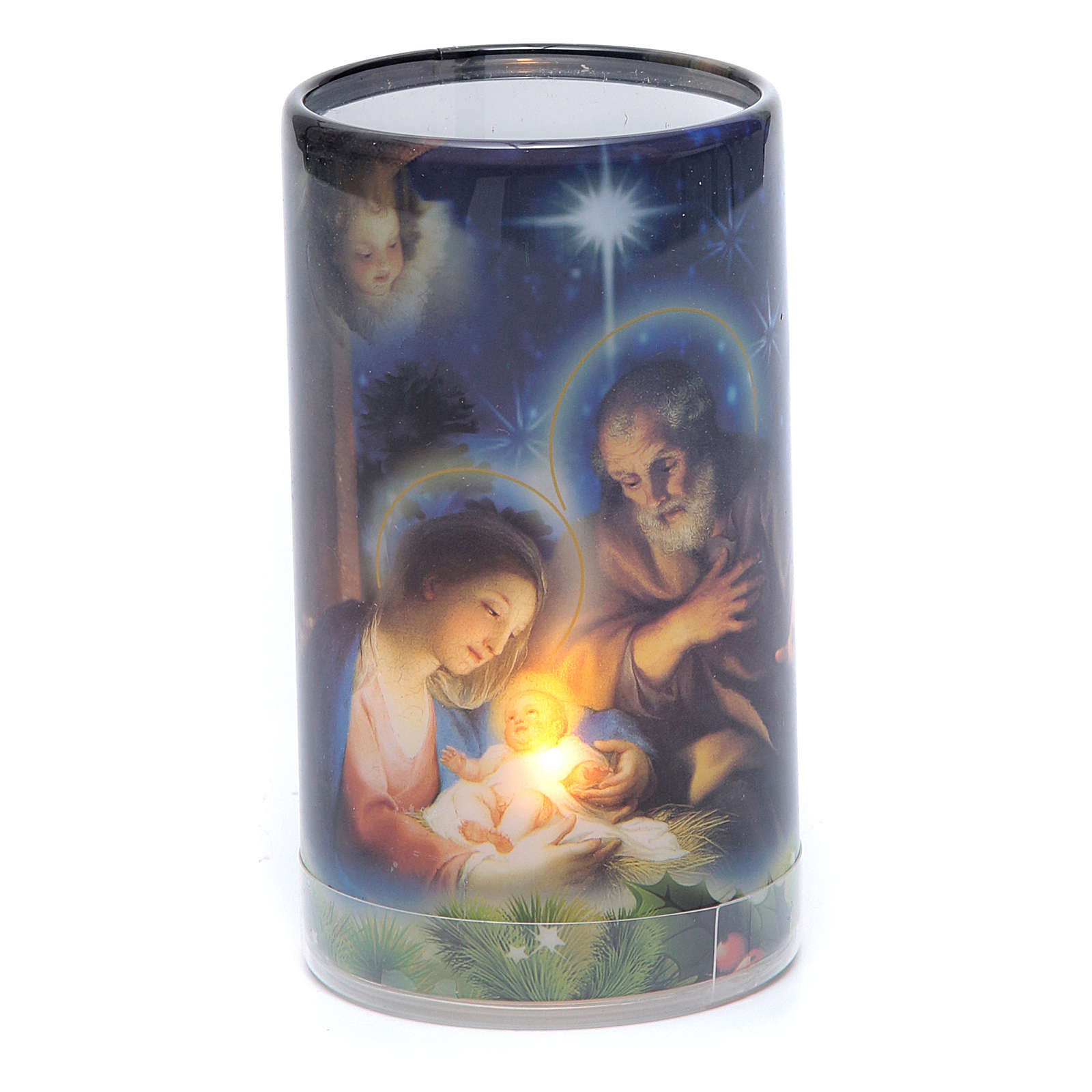 Candle with batteries Christmas image and fake internal candle 3
