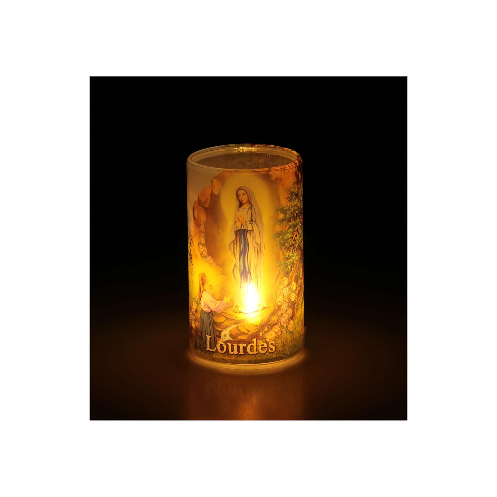 Kerze mit Batterien Gottesmutter von Lourdes 3