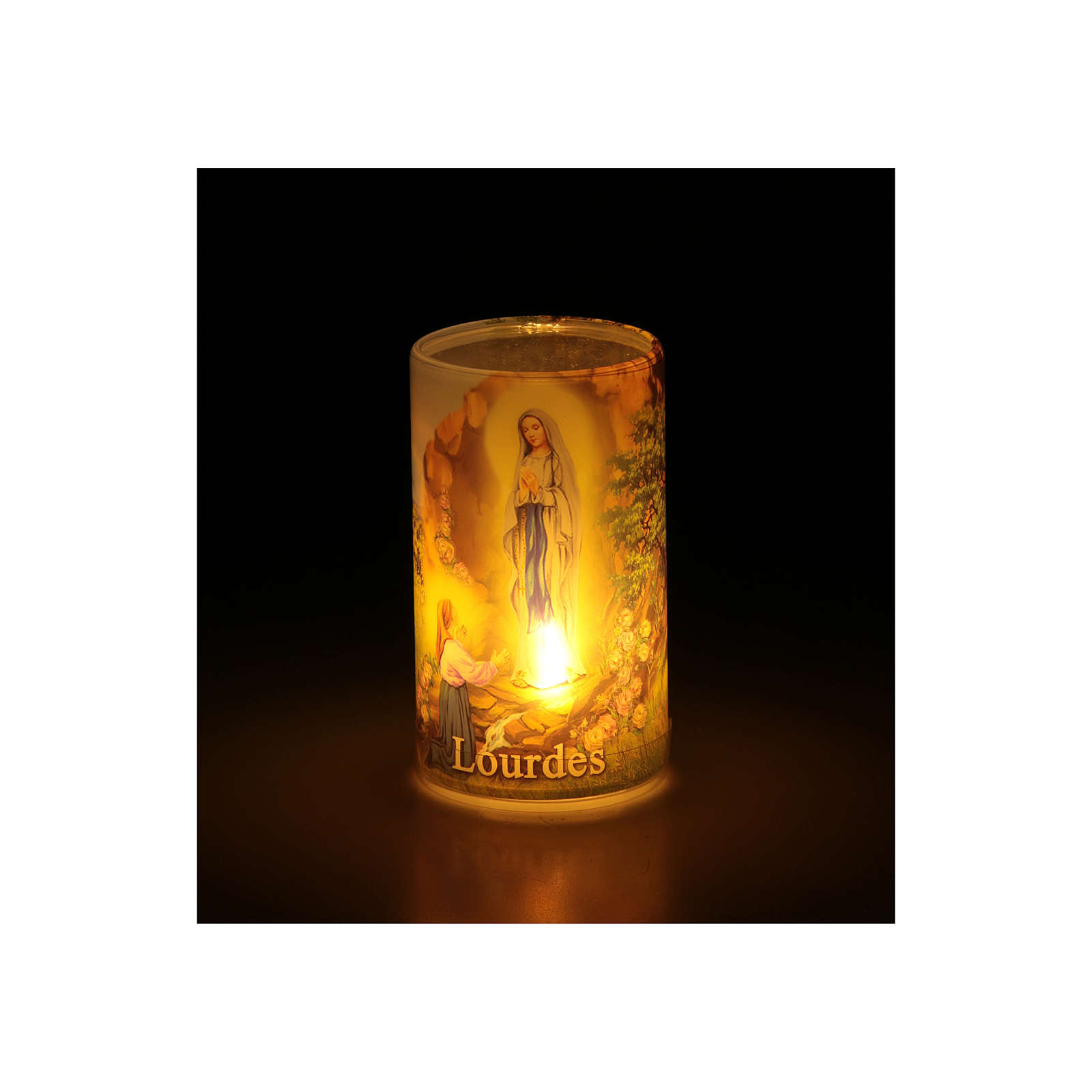 Candle with batteries Our Lady of Lourdes image and fake internal candle 3