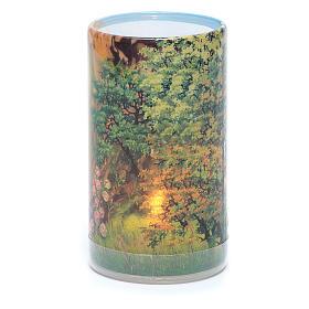 Vela con pilas con Virgen de Lourdes con vela falsa interior s2