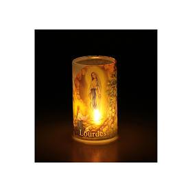 Vela con pilas con Virgen de Lourdes con vela falsa interior s3