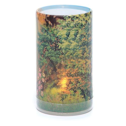 Vela con pilas con Virgen de Lourdes con vela falsa interior 2