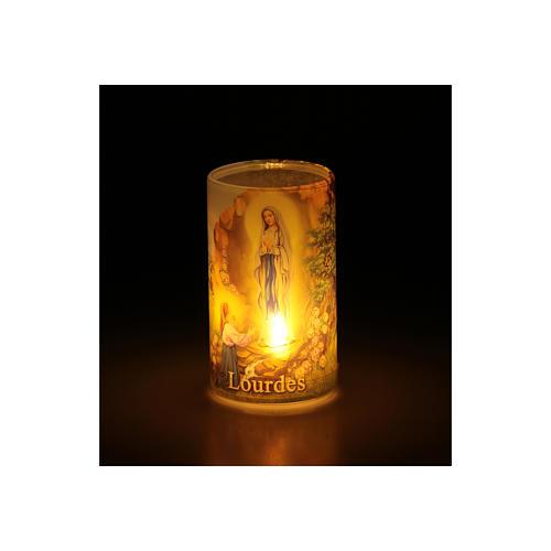 Candela a batteria con Madonna di Lourdes con finta candela interna 3