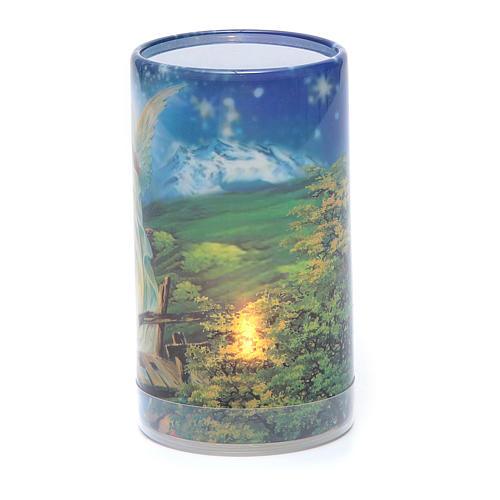 Vela con pilas con Ángel de la Guarda con vela falsa interior 2