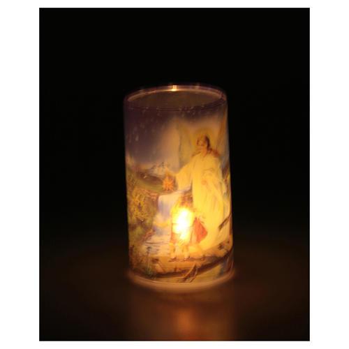 Vela con pilas con Ángel de la Guarda con vela falsa interior 3