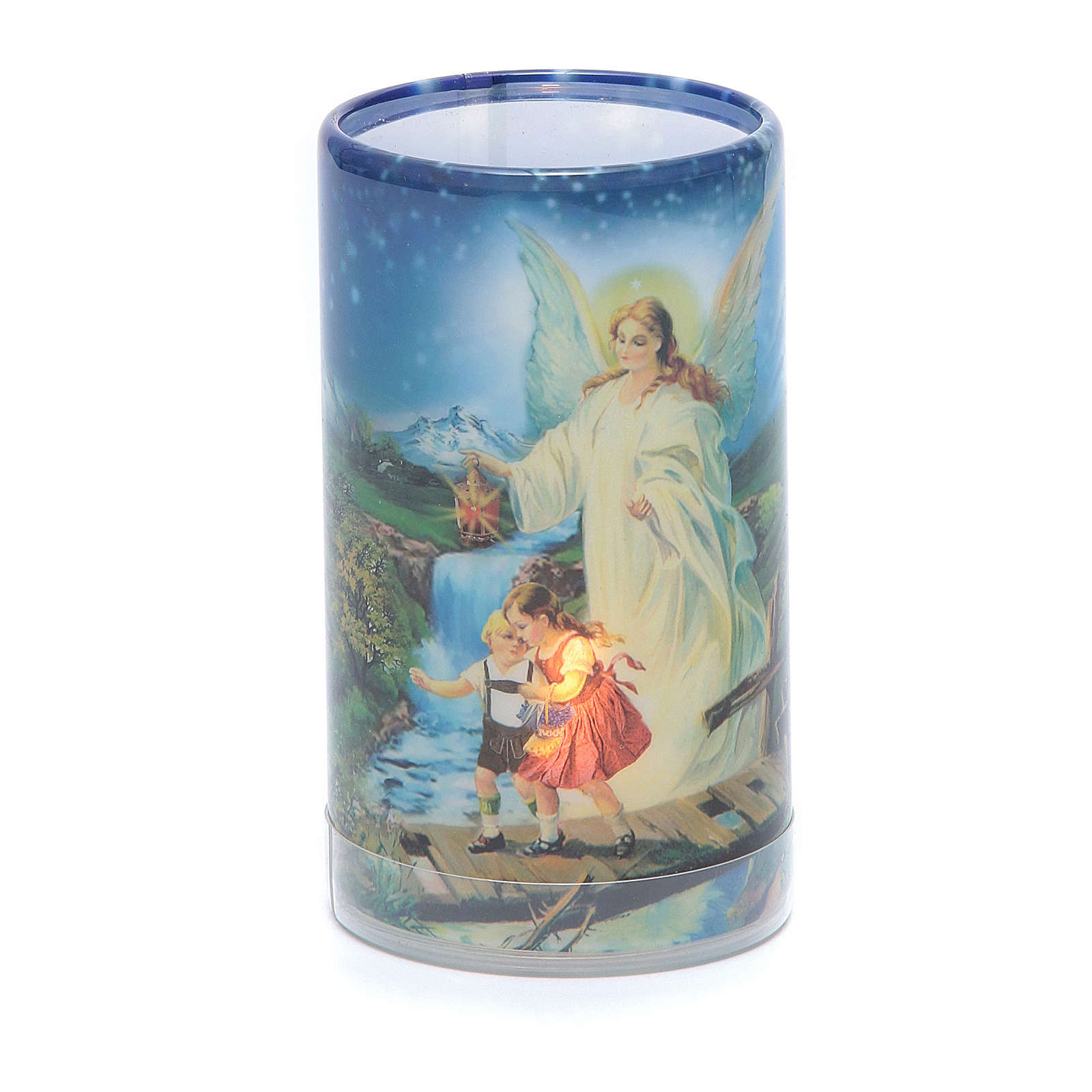 Candle with batteries Guardian Angel image and fake internal candle 3