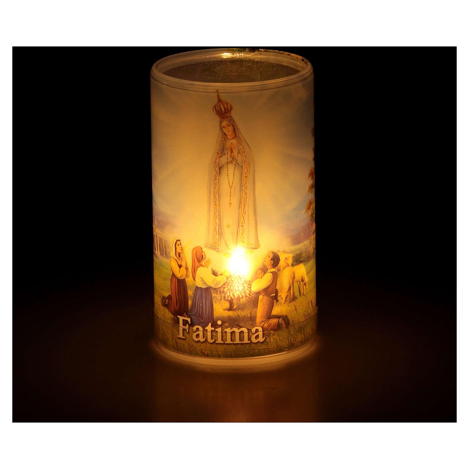 Vela con pilas con Virgen de Fátima con vela falsa interior 3
