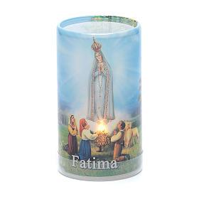 Vela con pilas con Virgen de Fátima con vela falsa interior