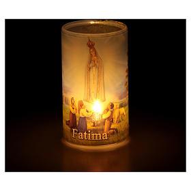 Vela con pilas con Virgen de Fátima con vela falsa interior s3