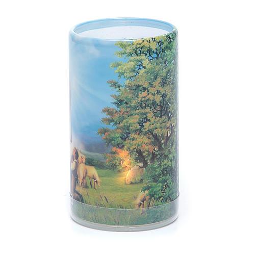 Vela con pilas con Virgen de Fátima con vela falsa interior 2