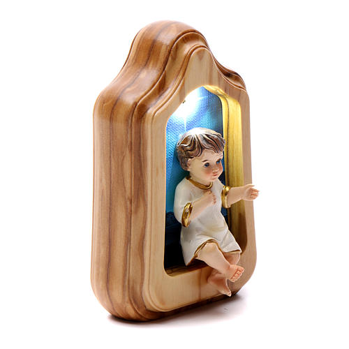 Bambin Gesù con led e musica BATTERIA 10X7 cm 2