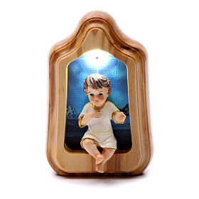 Świece wotywne: Dzieciątko Jezus z led i melodią na baterie 10x7 cm