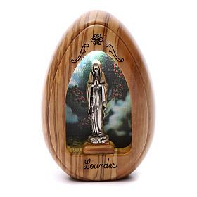 Lamparilla de madera de olivo Lourdes con led 10x7 cm s1