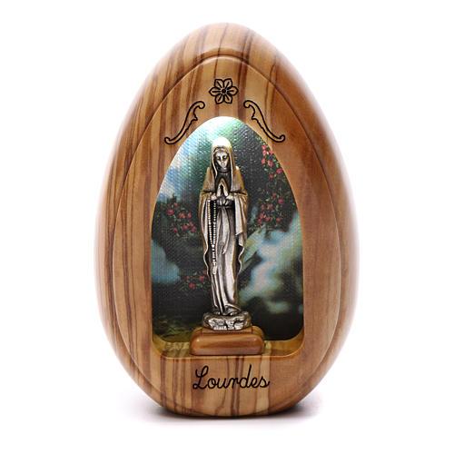 Lamparilla de madera de olivo Lourdes con led 10x7 cm 1
