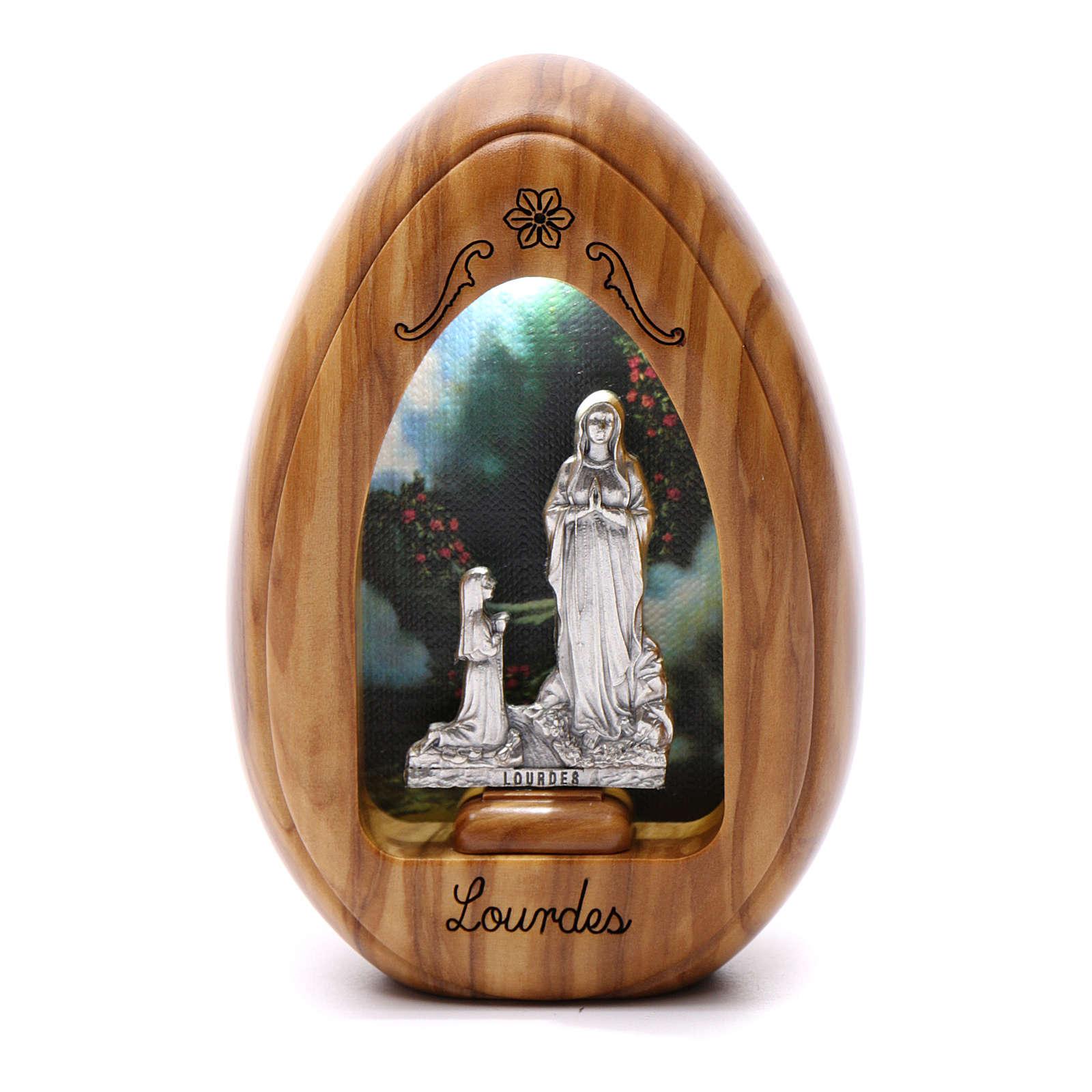 Lumino in legno d'olivo Lourdes e Bernardette con led 10X7 cm 3