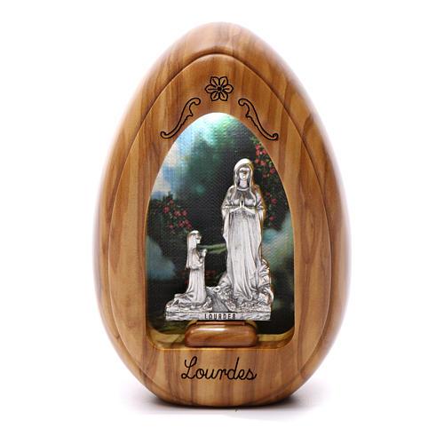 Lumino in legno d'olivo Lourdes e Bernardette con led 10X7 cm 1