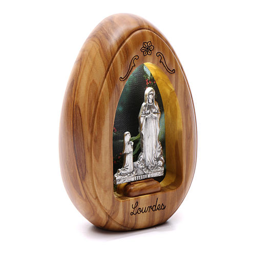 Lumino in legno d'olivo Lourdes e Bernardette con led 10X7 cm 2
