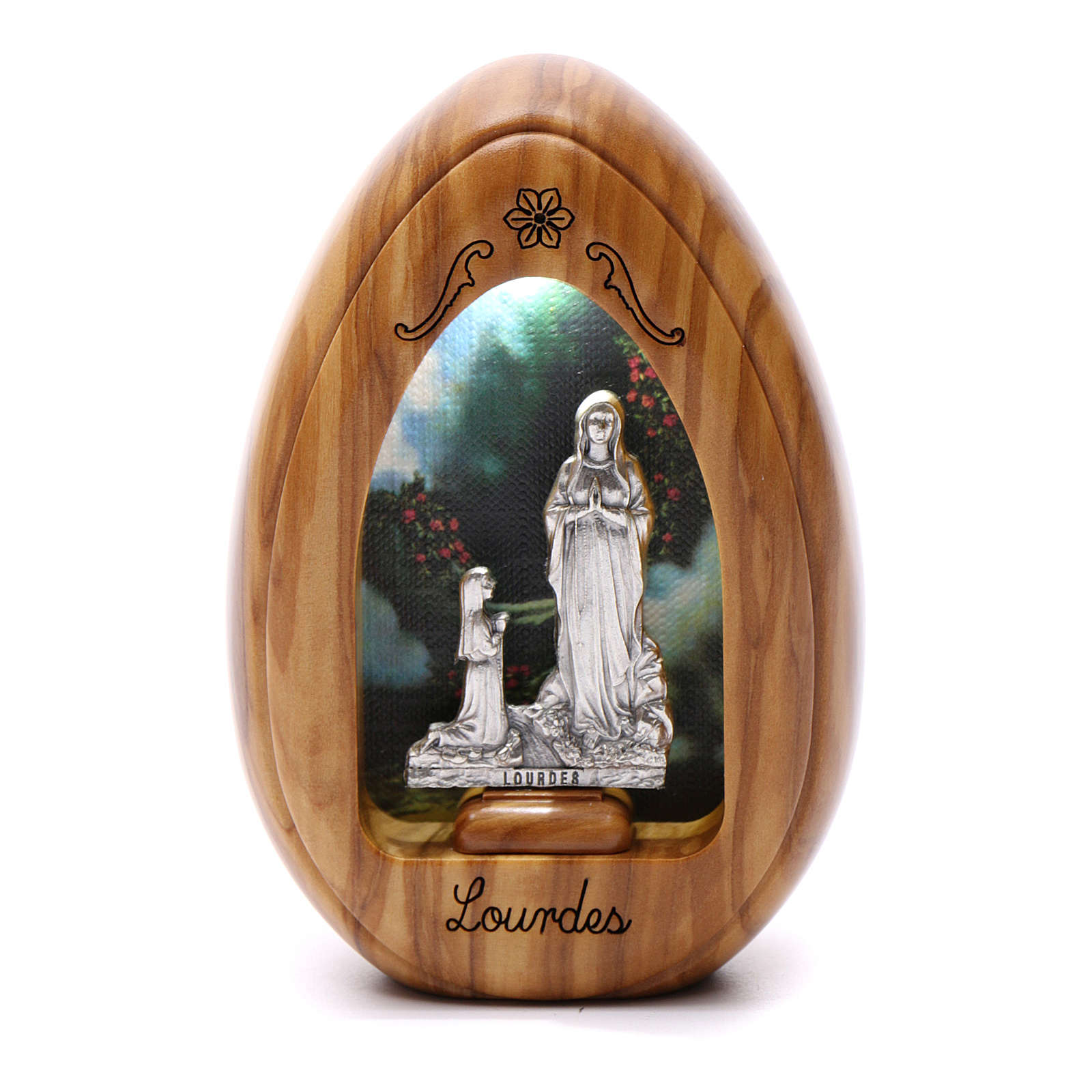 Our Lady of Lourdes candle with Bernardette in olive wood with led 10X7 cm 3