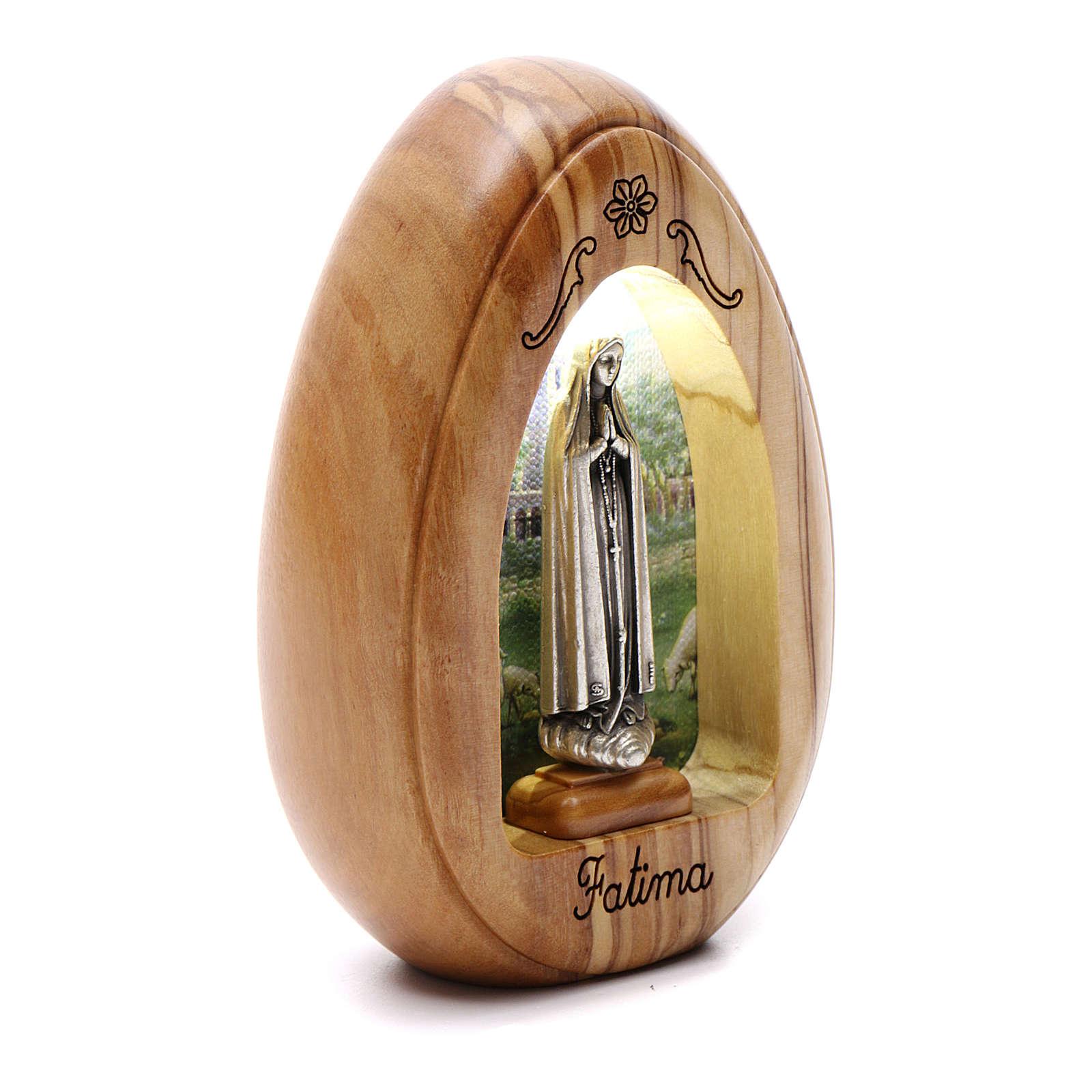 Lumino in legno d'olivo Fatima con led 10X7 cm 3