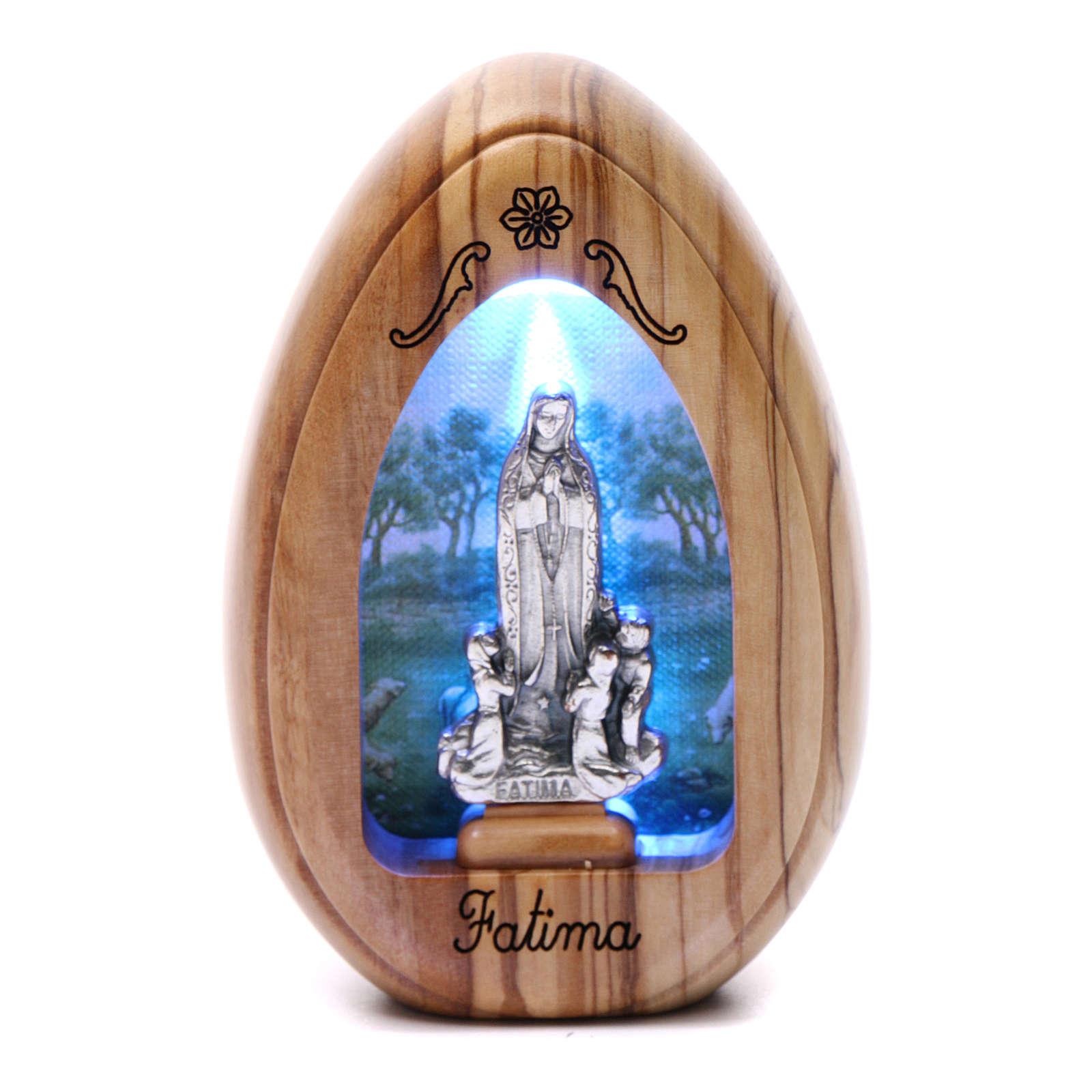 Lumino in legno d'olivo Fatima e pastorelli con led 10X7 cm 3