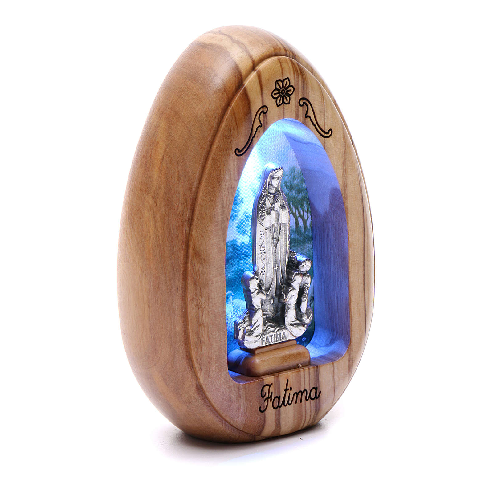 Our Lady of Fatima and shepherds olive wood candle with led 10X7 cm 3