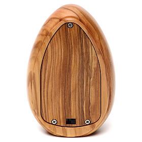 Lamparilla de madera de olivo San Benedicto con led 10x7 cm s3