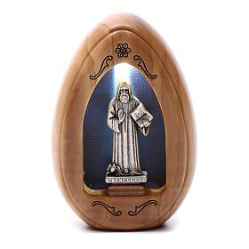 Lumino in legno d'olivo San Benedetto con led 10X7 cm s1