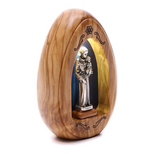 Lumino in legno d'olivo Sant'Antonio con led 10X7 cm 2