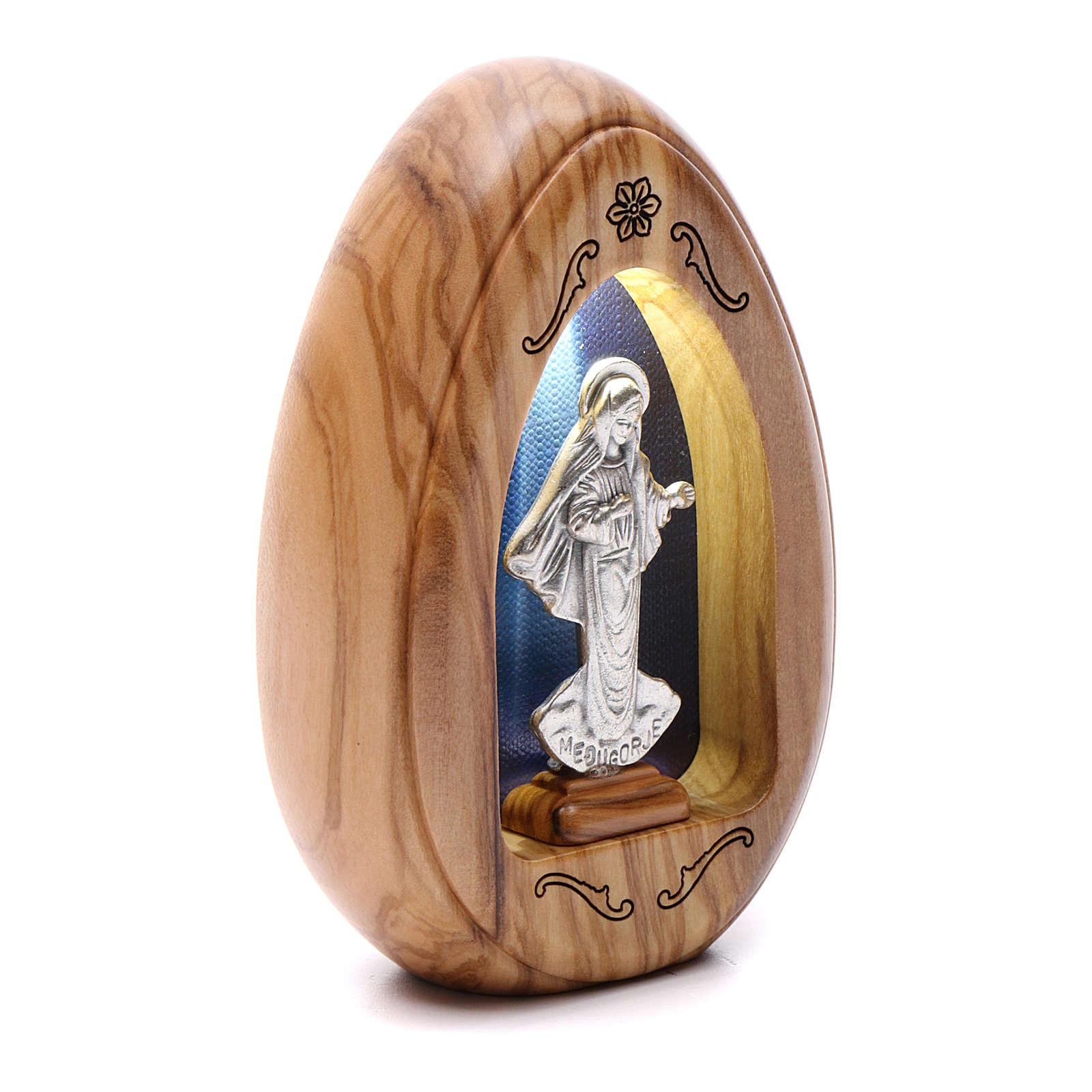 Lamparilla de madera de olivo Virgen de Medjugorje con led 10x7 cm 3