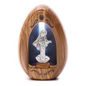 Lumino in legno d'olivo Madonna di Medjugorje con led 10X7 cm s1